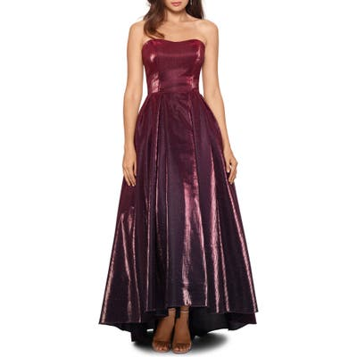 Betsy & Adam Strapless Ombre High/low Gown, Burgundy