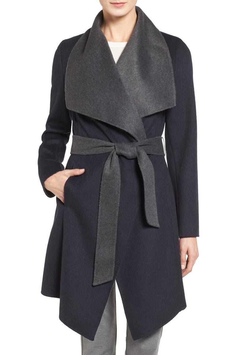 MICHAEL MICHAEL KORS Double Face Wool Blend Wrap Coat, Main, color, 413