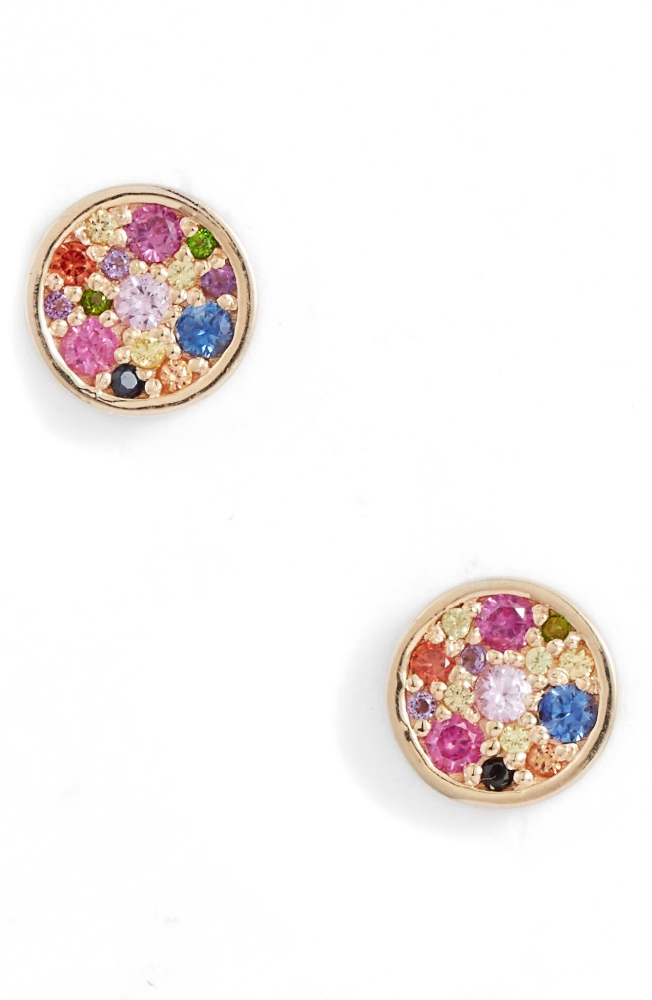 Love Rainbow Circle Stud Earrings