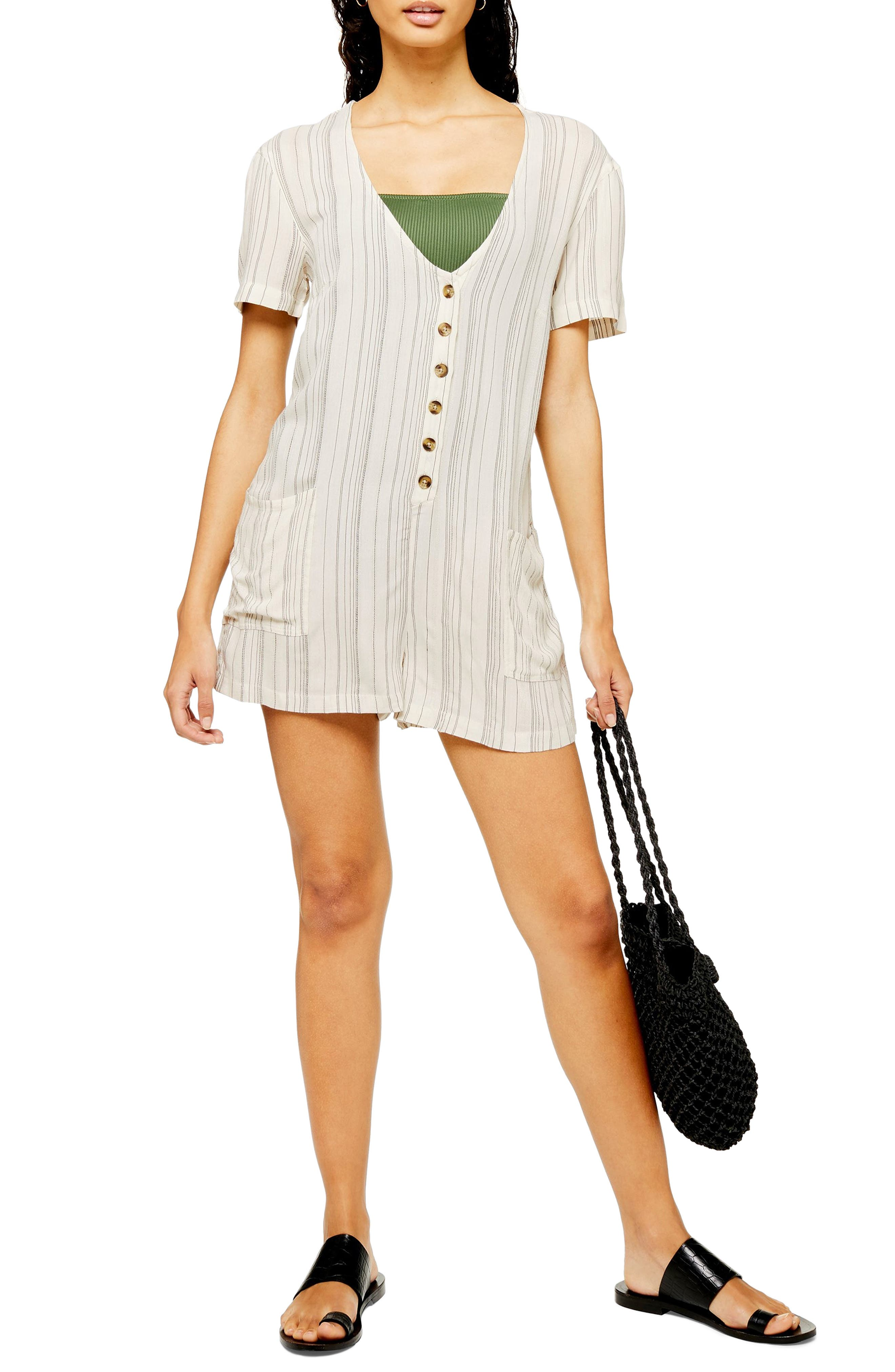Topshop Stripe Button Front Cover-Up, Beige