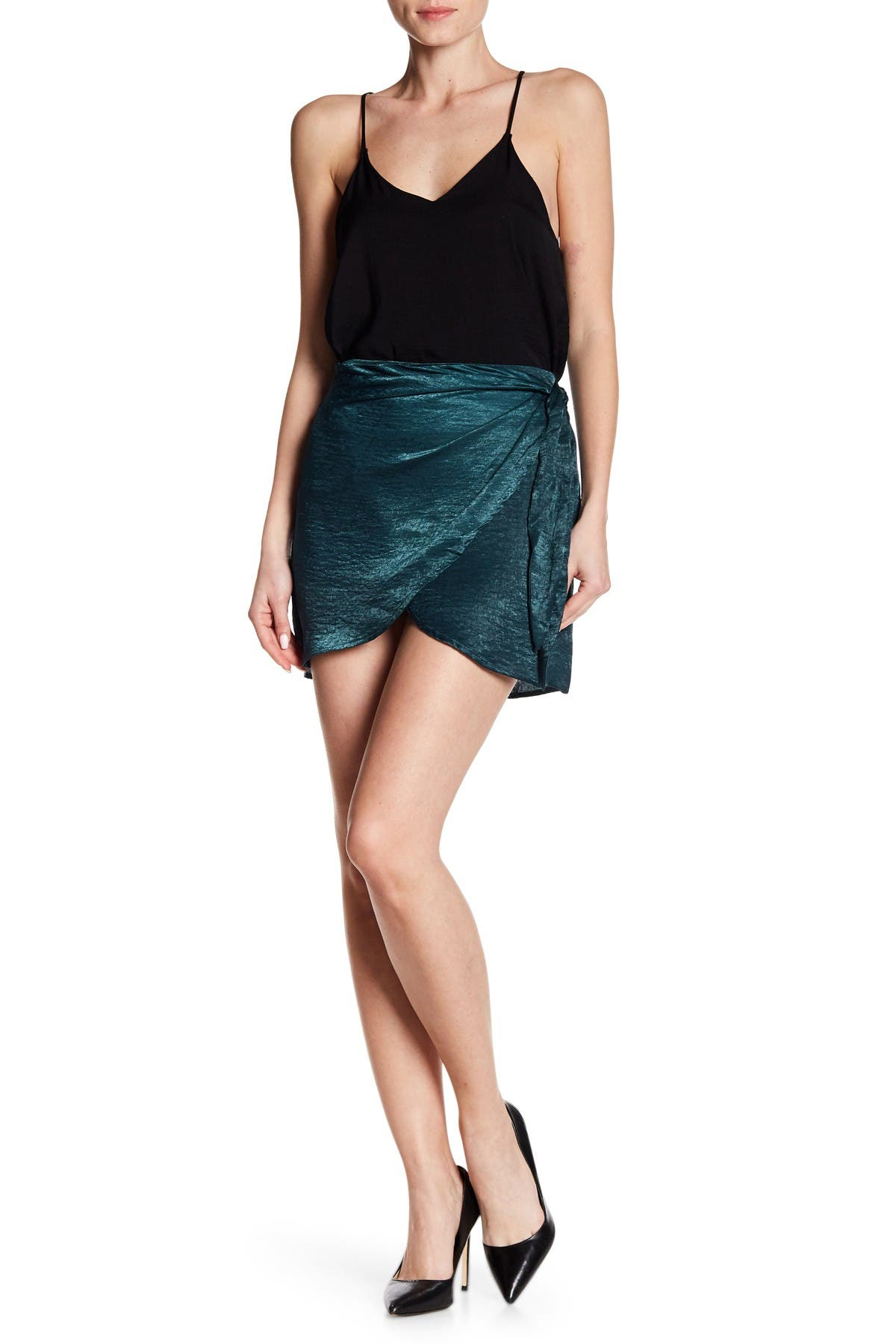 Image of dee elly Satin Wrap Mini Skirt
