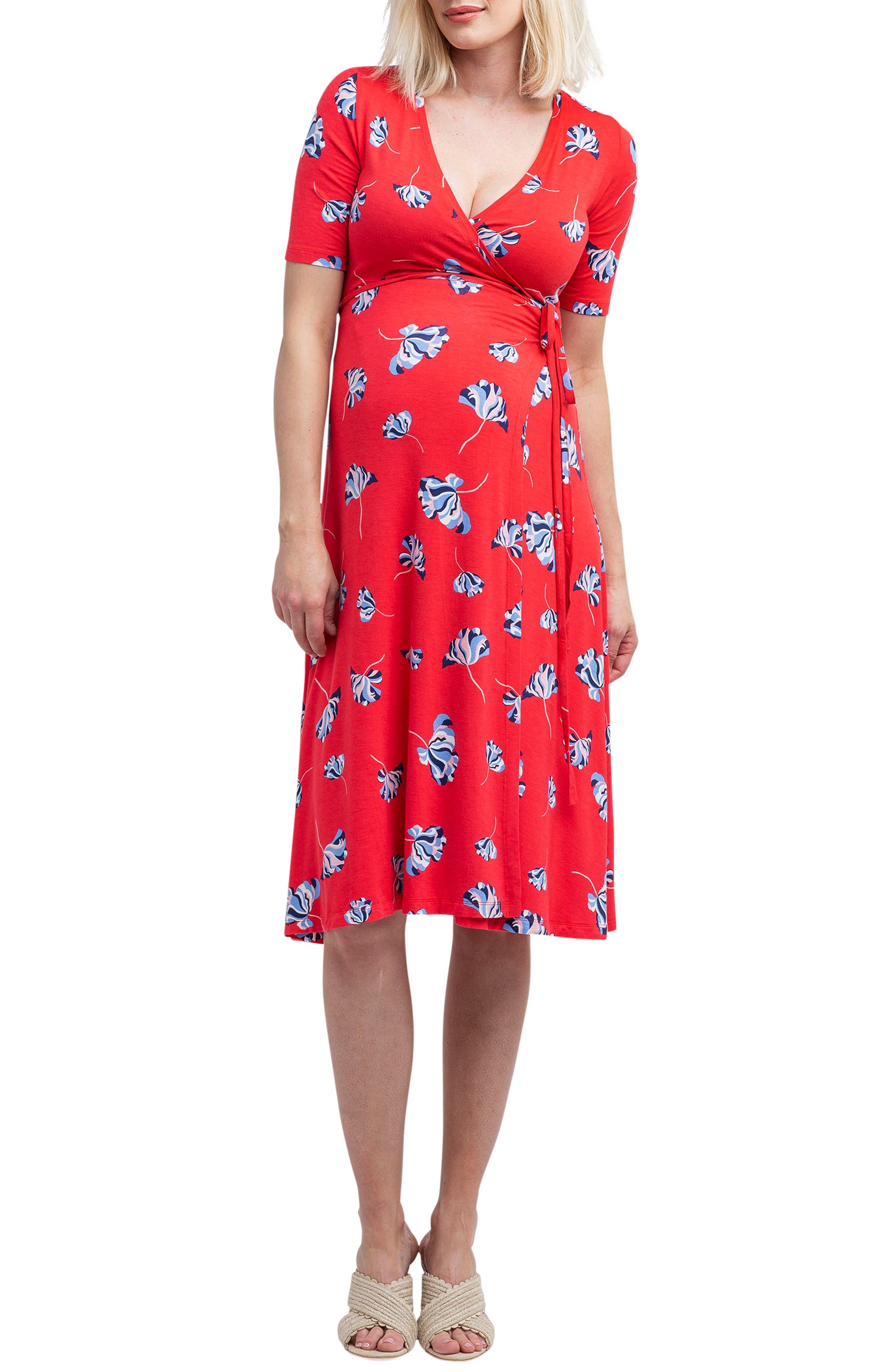 Nom Maternity Maya Maternity/nursing Wrap Dress, Pink