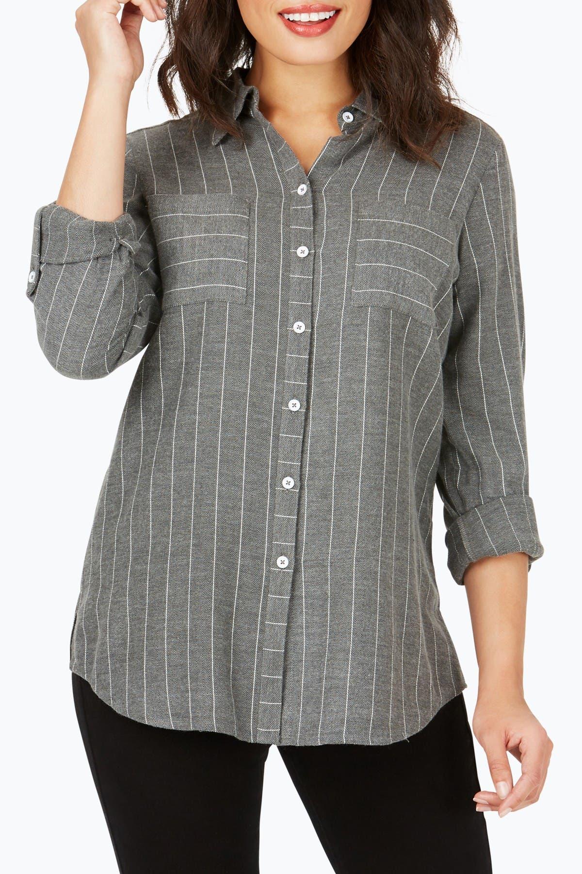 Image of FOXCROFT Zoey Brushed Pinstripe Herringbone Shirt
