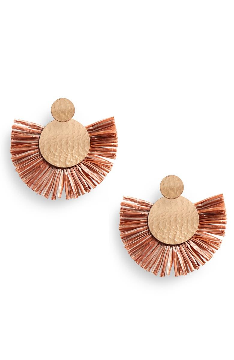 BP. Fringe Fan Earrings, Main, color, 235