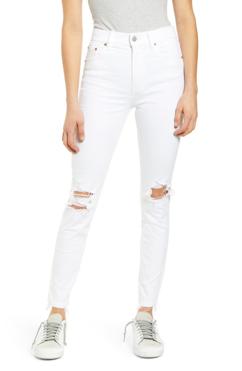 DAZE Call You Back Ripped High Waist Crop Skinny Jeans, Main, color, 100