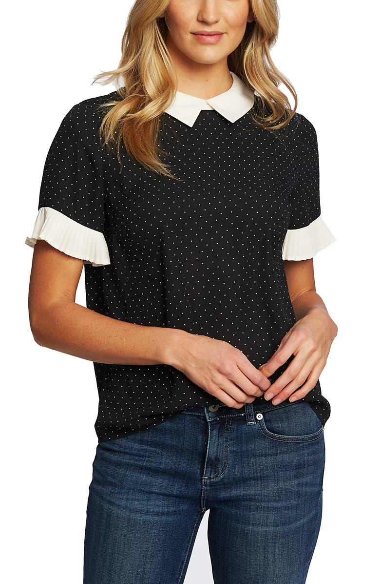 CECE Pleat Sleeve Polka Dot Blouse, Main, color, RICH BLACK
