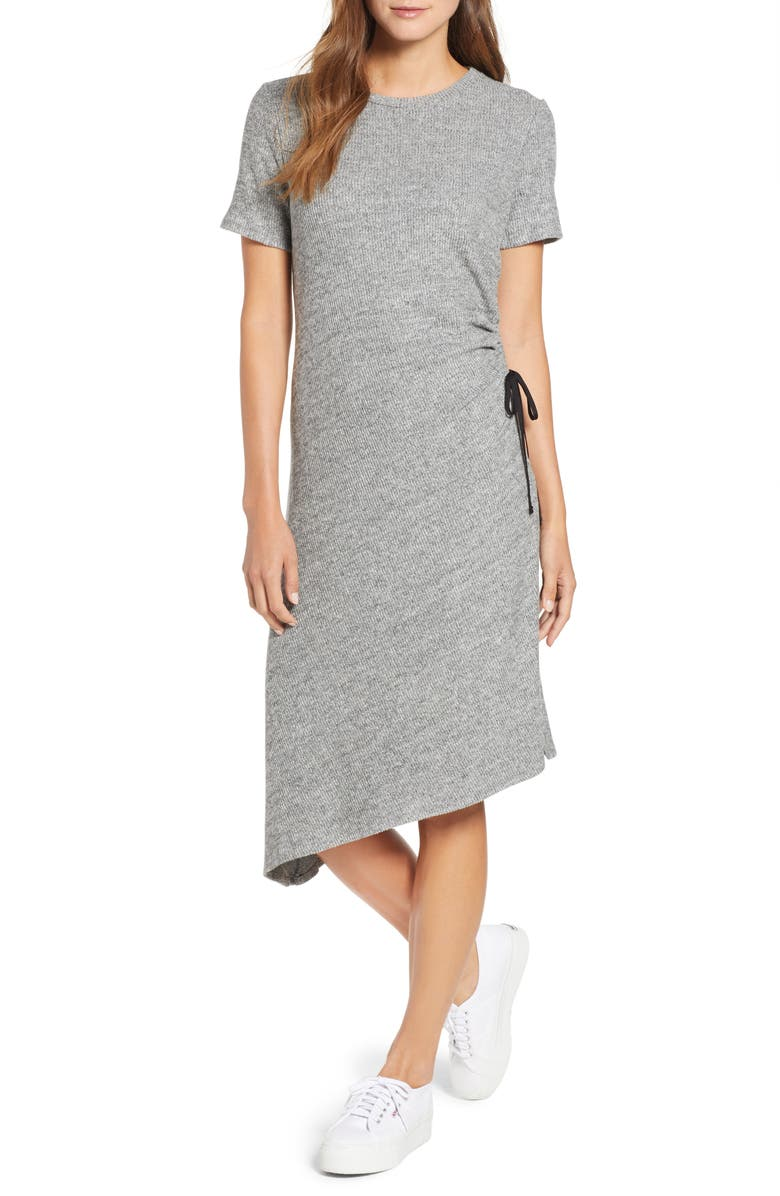 TDC Asymmetrical Side Lace-Up Dress, Main, color, HEATHER GREY