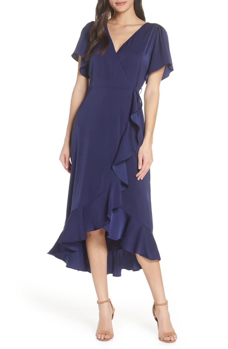 CHELSEA28 Midi Ruffle Wrap Dress, Main, color, NAVY