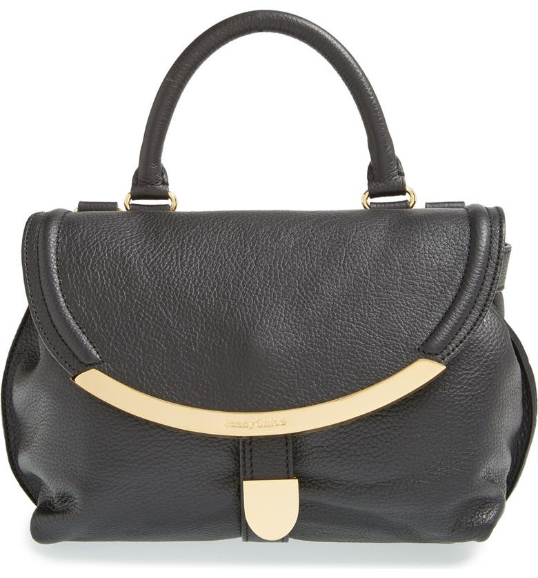 SEE BY CHLOÉ 'Small Lizzie' Pebbled Leather Satchel, Main, color, 001