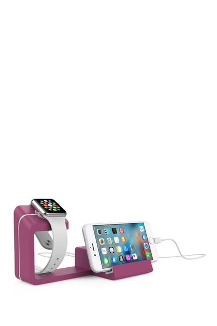 Image of POSH TECH Dual 2-in-1 Charging Stand for Apple Watch and Smartphones - Magenta Haze