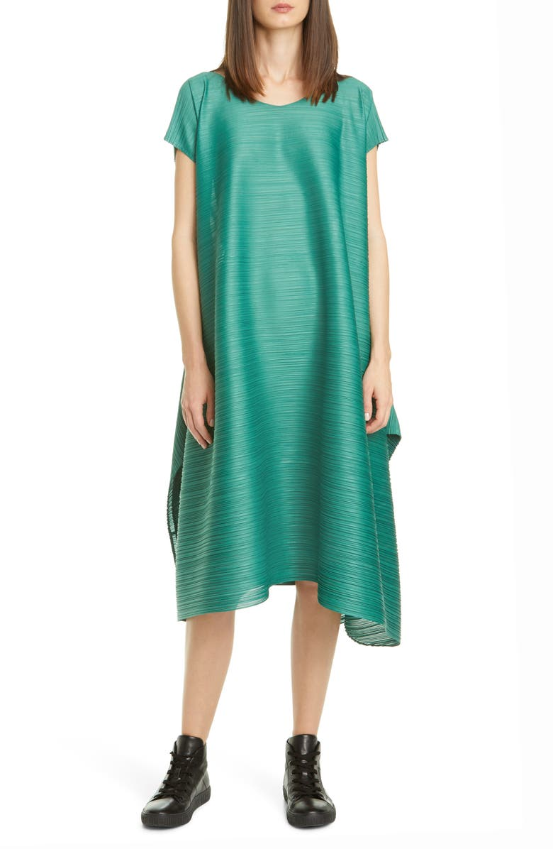 PLEATS PLEASE ISSEY MIYAKE Pleated Cinched Midi Dress, Main, color, 61 LEAF GREEN