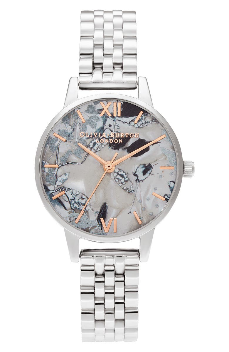 OLIVIA BURTON Abstract Florals Bracelet Strap Watch, 30mm, Main, color, SILVER/ FLORAL/ SILVER