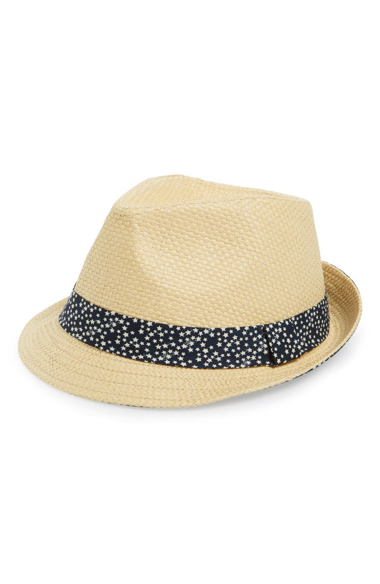 EMANUEL GERALDO Print Band Straw Fedora Hat, Main, color, 250