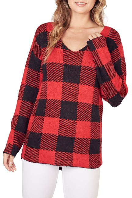 Image of Mustard Seed Buffalo Check Flannel Sweater