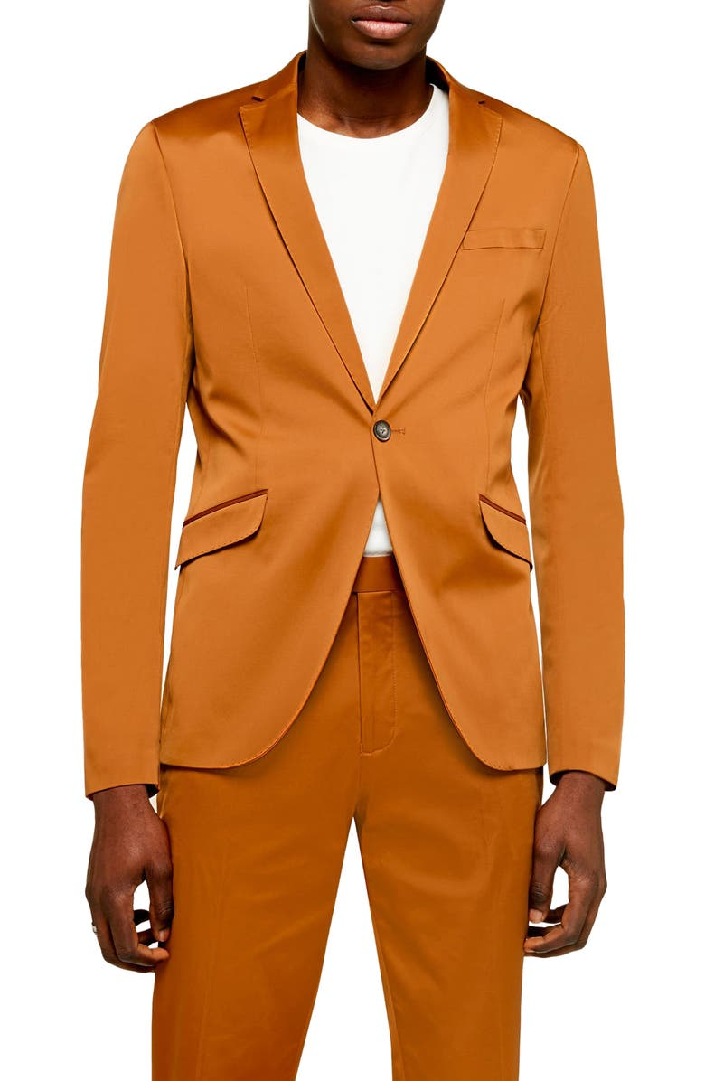 TOPMAN Slim Fit Satin Suit Jacket, Main, color, BROWN