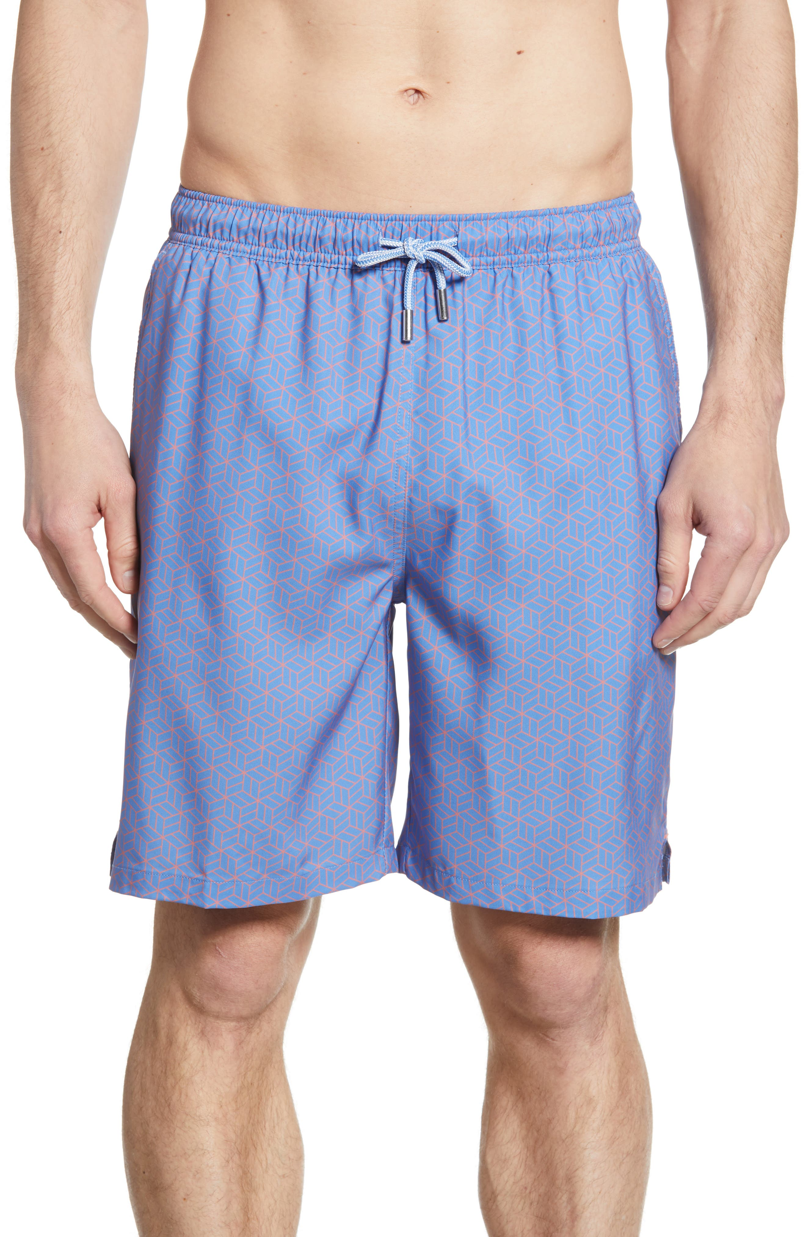 Peter Millar Coastal Cubist Swim Trunks, Blue