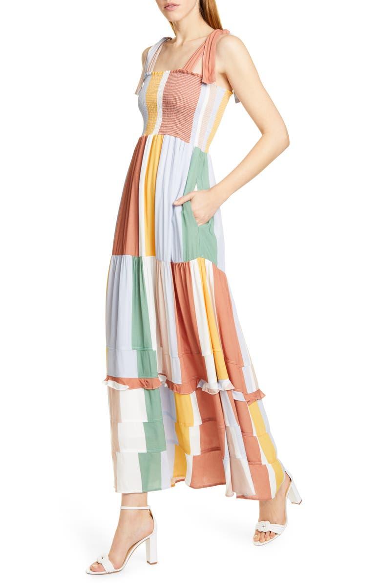DOLAN Hazel Smocked Bodice Sundress, Main, color, ORANGE MULTI