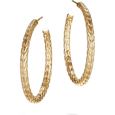 John Hardy Classic Chain 18K Gold Medium Hoop Earrings
