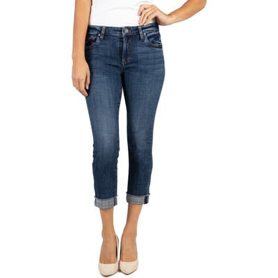 Kut From The Kloth Amy Raw Hem Crop Straight Leg Jeans, Blue
