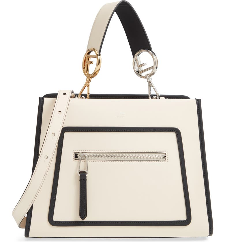 FENDI Small Runaway Calfskin Leather Satchel, Main, color, 100