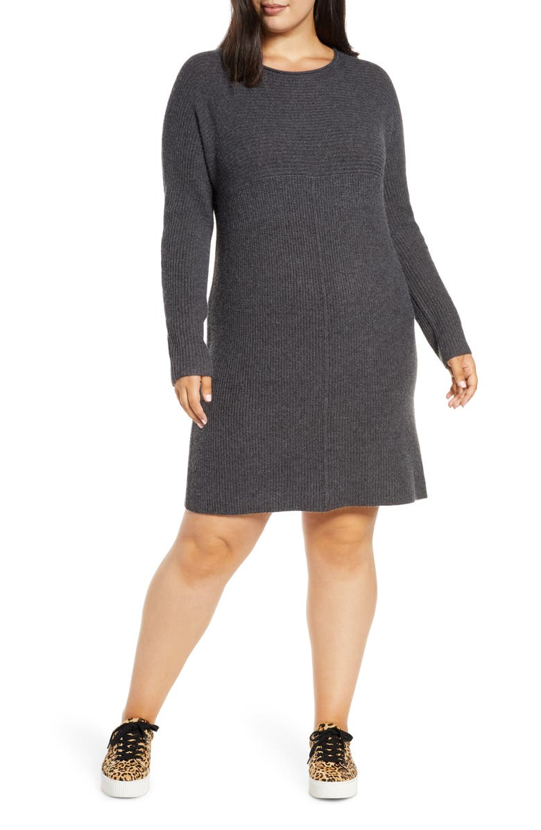 CASLON<SUP>®</SUP> Long Sleeve Ribbed Sweater Dress, Main, color, GREY DARK CHARCOAL HEATHER