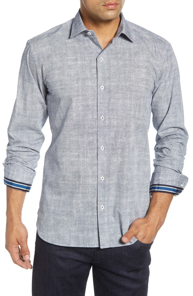 BUGATCHI Shaped Fit Button-Up Sport Shirt, Main, color, 411