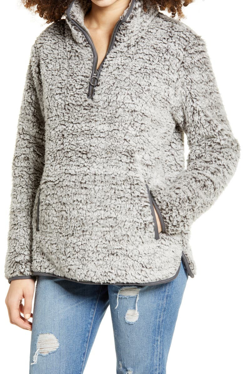 THREAD & SUPPLY Wubby Fleece Pullover, Main, color, CHARCOAL
