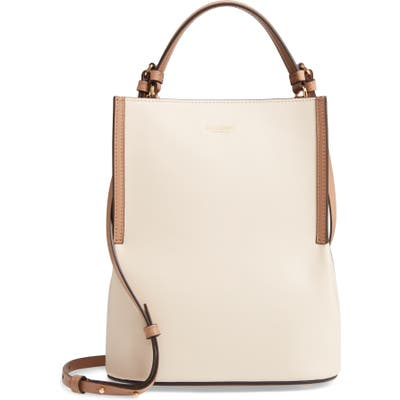 Burberry Small Peggy Bicolor Leather Bucket Bag - Ivory