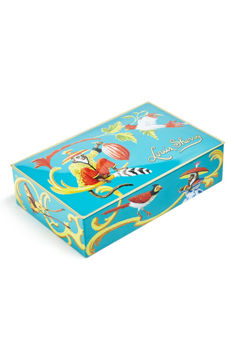 LOUIS SHERRY Louis Sheery Singerie Teal 12-Piece Chocolate Truffle Tin, Main, color, LIGHT BLUE YELLOW CORAL