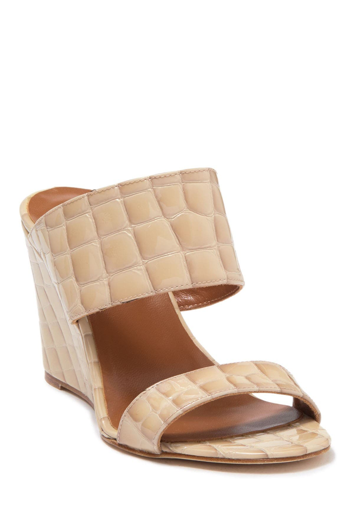 Image of PARIS TEXAS Patent Croc Embossed Wedge Sandal