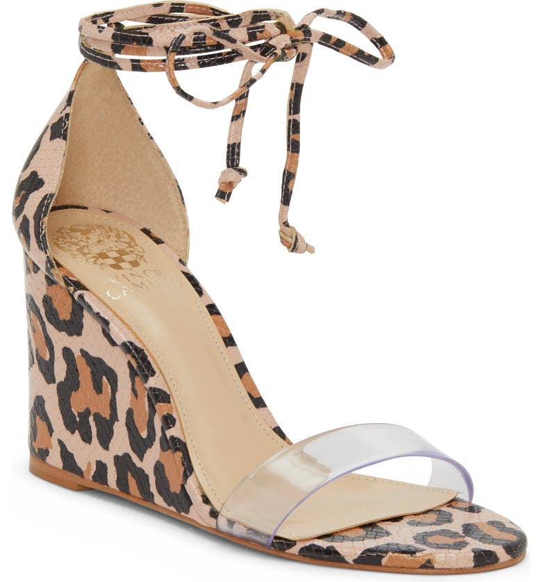 VINCE CAMUTO Stassia Wraparound Wedge Sandal, Main, color, LEOPARD/ CLEAR