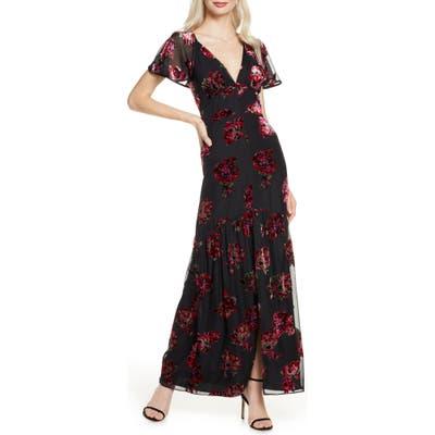 Harlyn Cape Sleeve Velvet Burnout Maxi Dress, Black