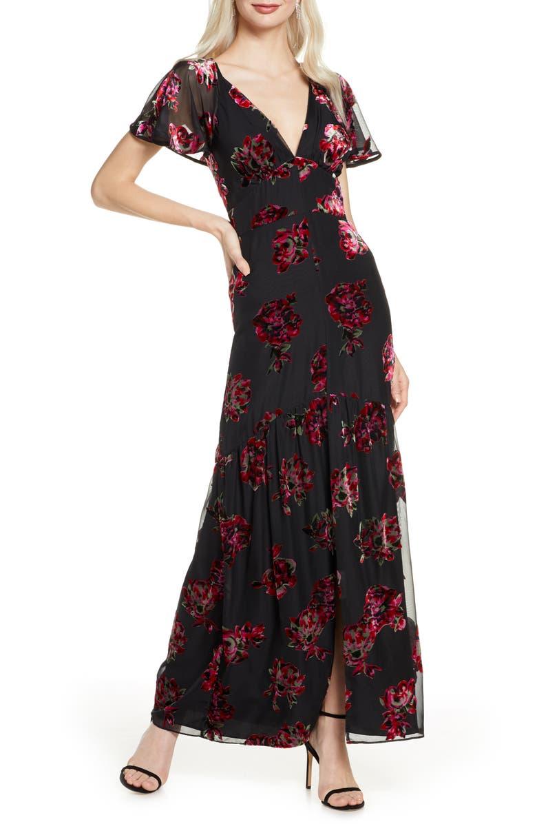HARLYN Cape Sleeve Velvet Burnout Maxi Dress, Main, color, BLACK/ MULTI