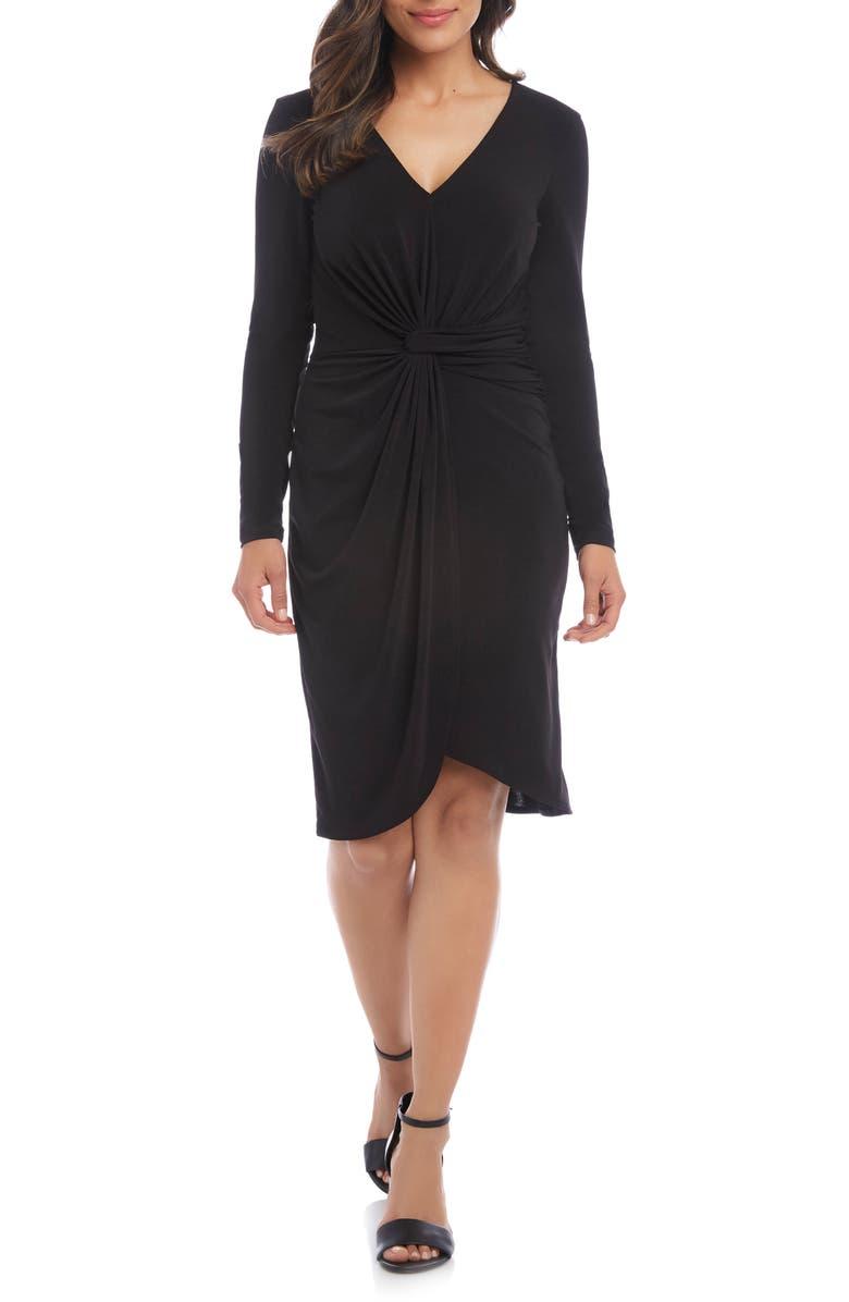 KAREN KANE Meghan Long Sleeve Faux Wrap Dress, Main, color, BLACK