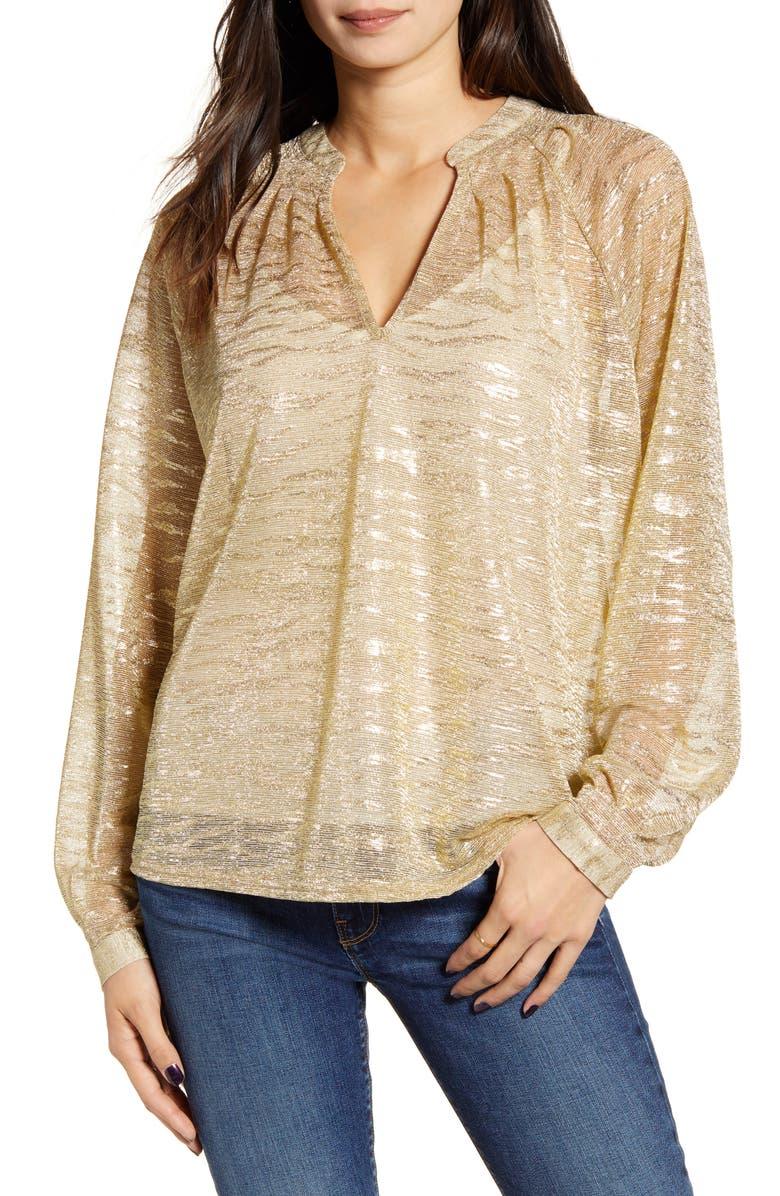 BISHOP + YOUNG Serena Metallic Top, Main, color, GOLD METALLIC