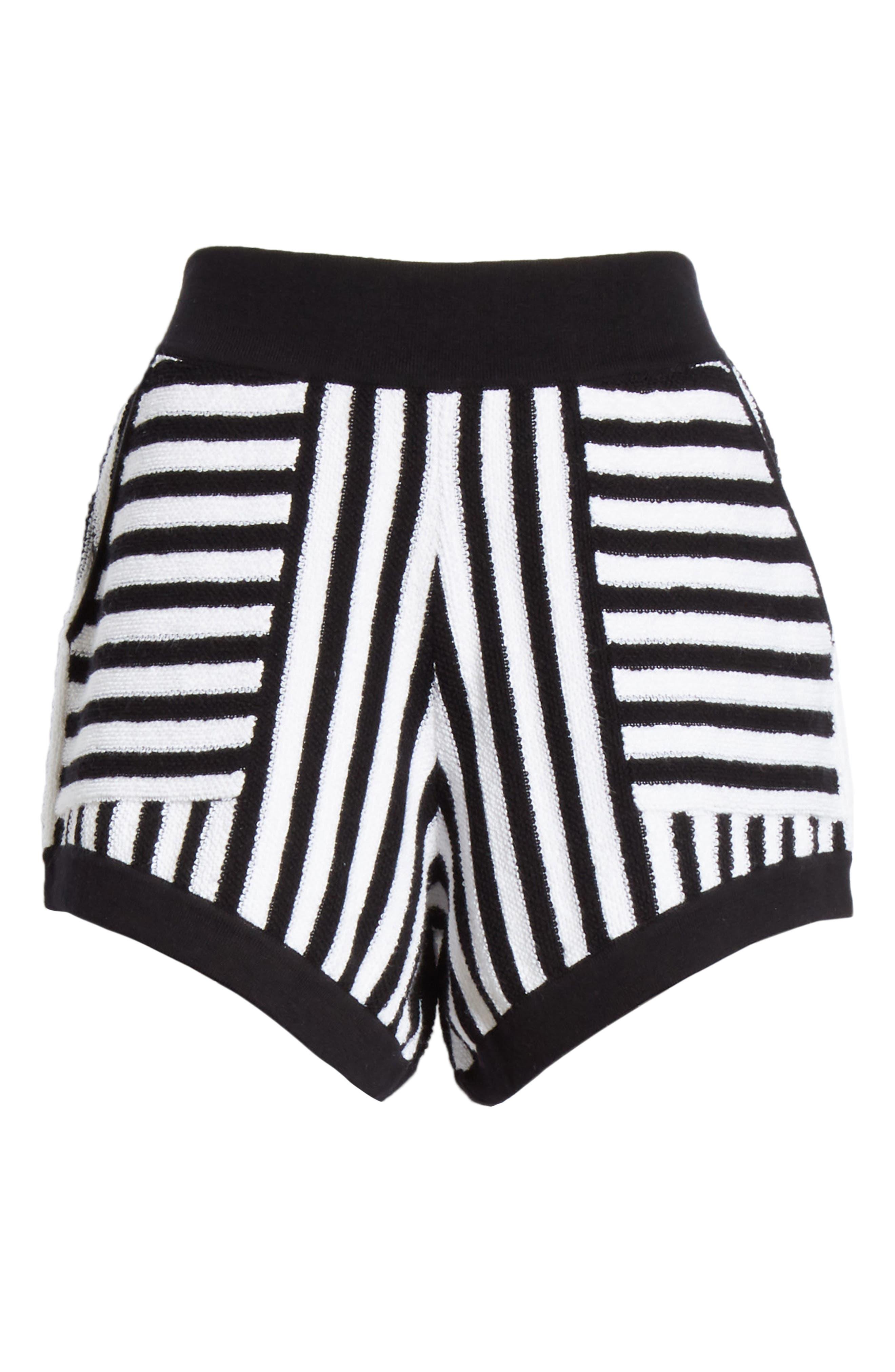 ,                             Striped Cotton & Cashmere Shorts,                             Alternate thumbnail 6, color,                             WHITE/ BLACK COMBO