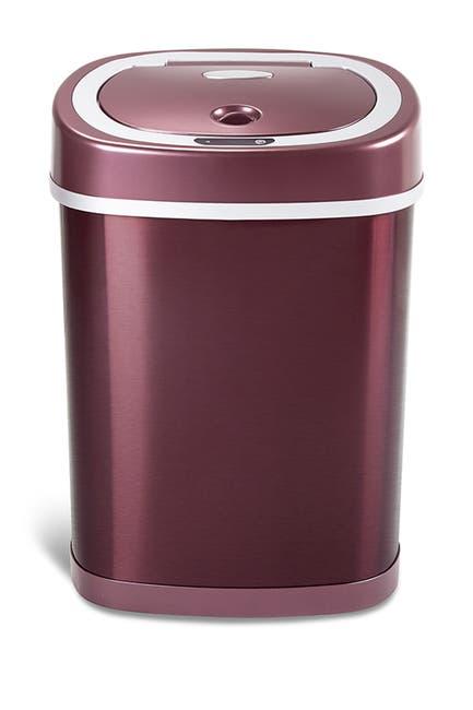 Image of NINESTARS Burgundy Stainless Steel Motion Sensor Trash Can - 3.2 Gallons