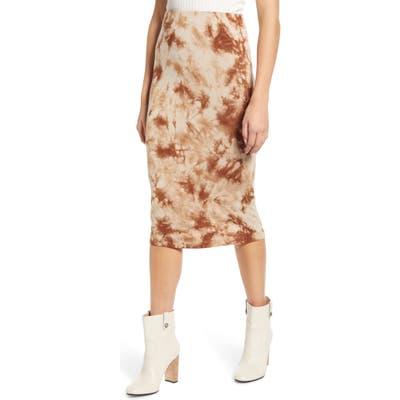 Love, Fire Tie Dye Midi Skirt, Brown