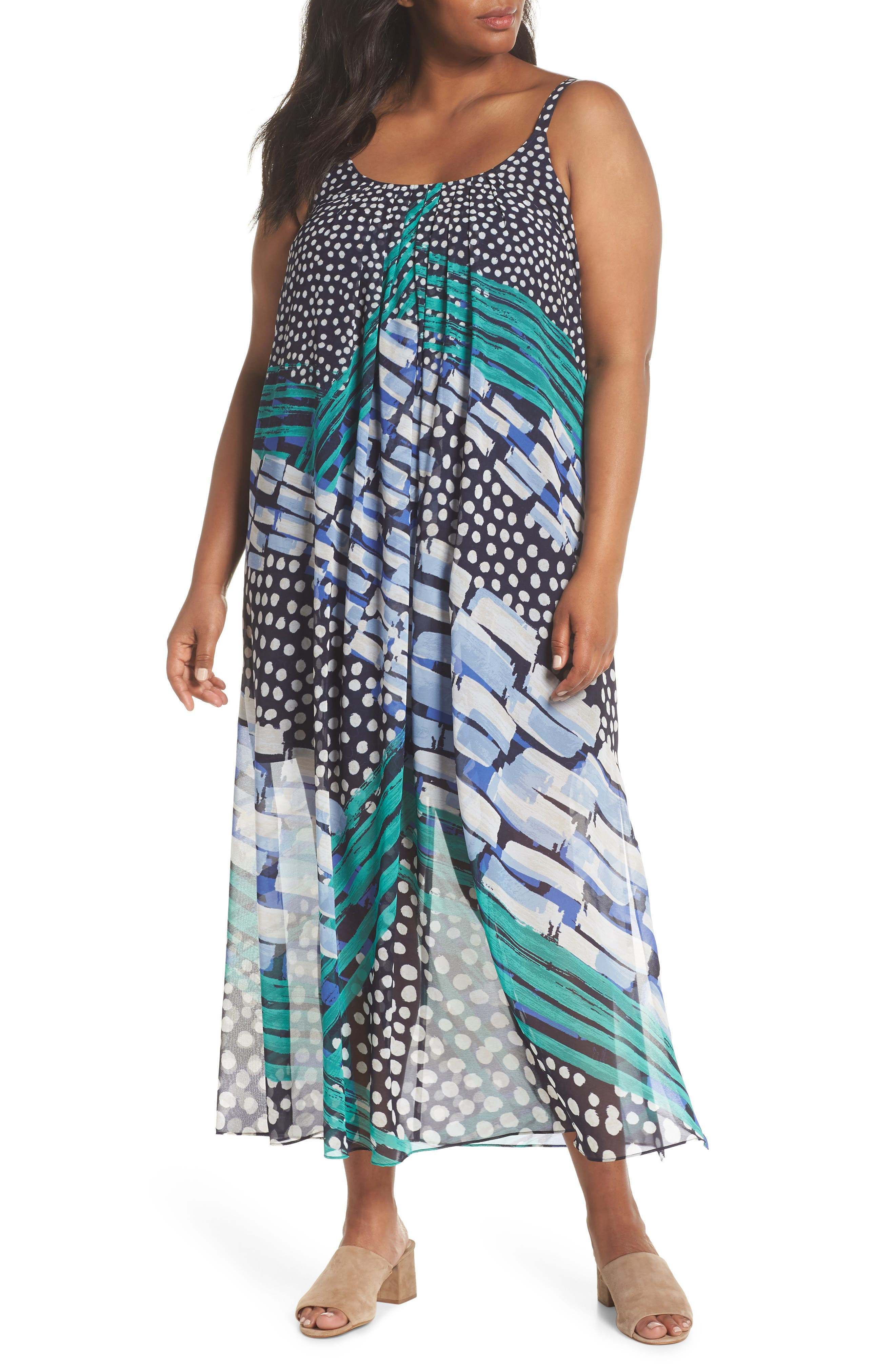 Plus Size Nic+Zoe Bloom Me Away Print Maxi Dress, Blue