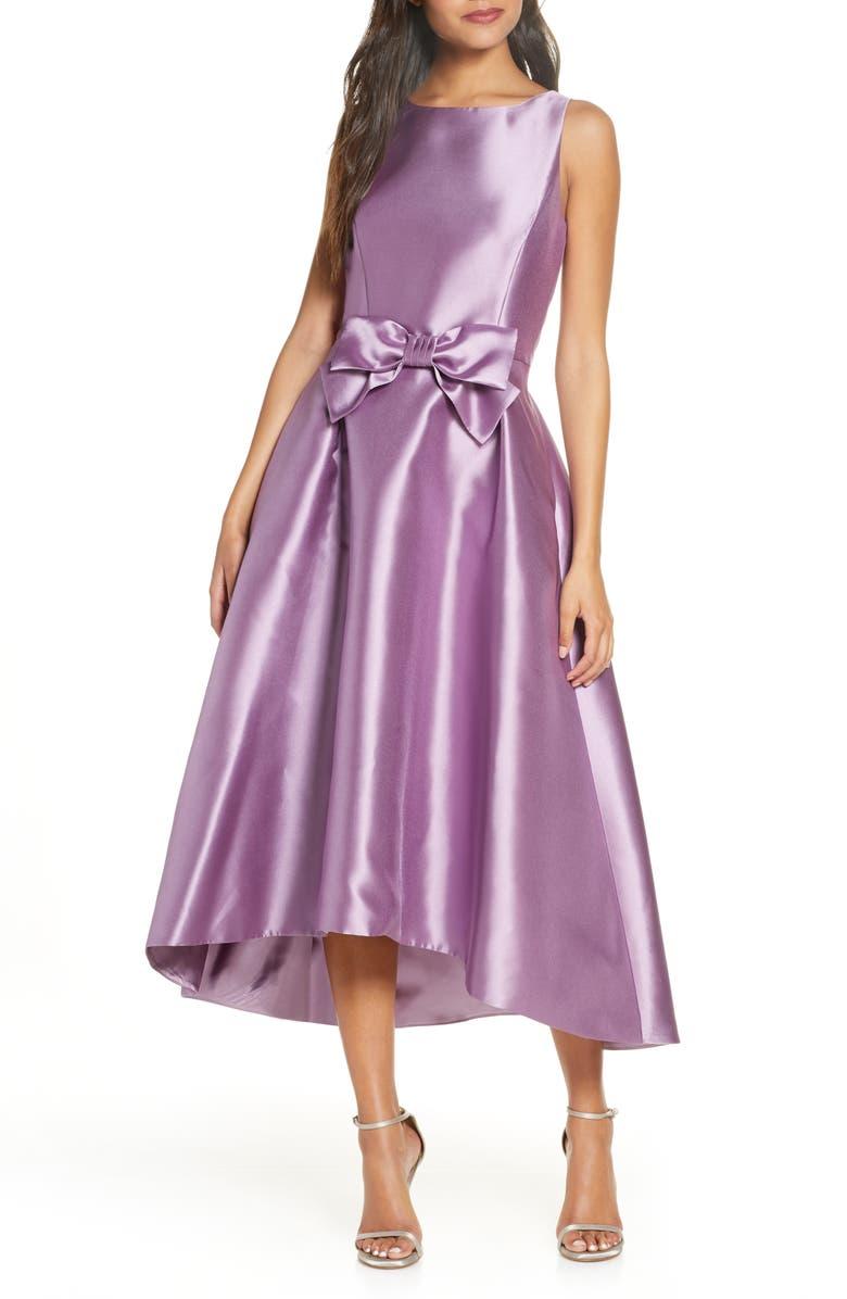 TAHARI Mikado High/Low Gown, Main, color, MAUVE