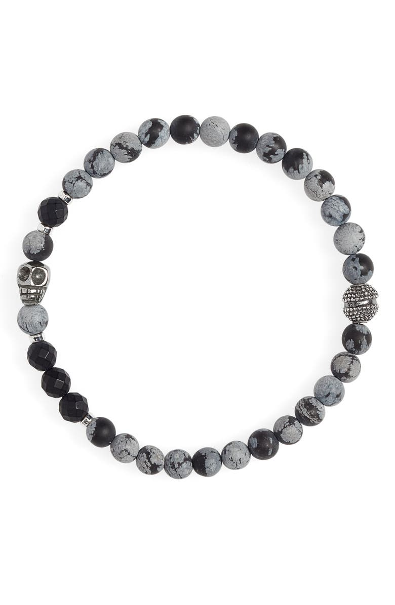 JONAS STUDIO Stone Bead Bracelet, Main, color, GREY