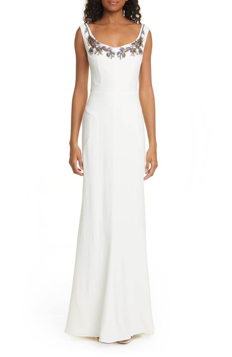 ALEXANDER MCQUEEN Embellished Neck Crepe Sheath Gown, Main, color, LIGHT IVORY