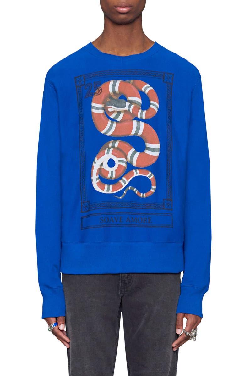 c60a313d9 Snake Stamp Graphic Crewneck Sweatshirt, Main, color, 493
