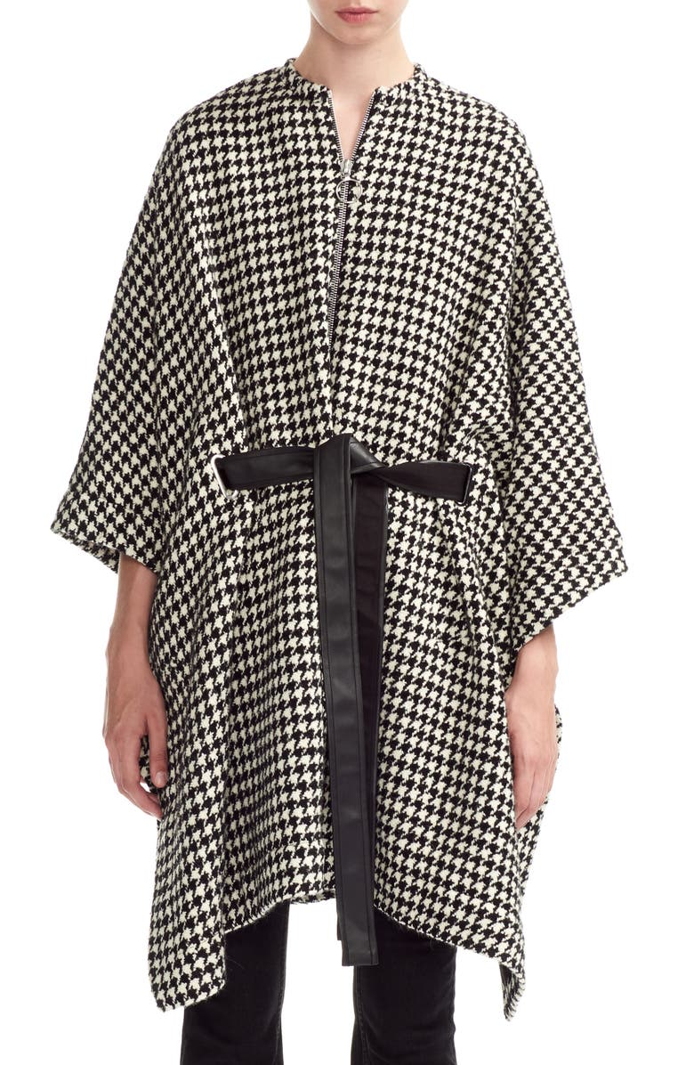 MAJE Giro Houndstooth Cape Coat, Main, color, BLACK / WHITE