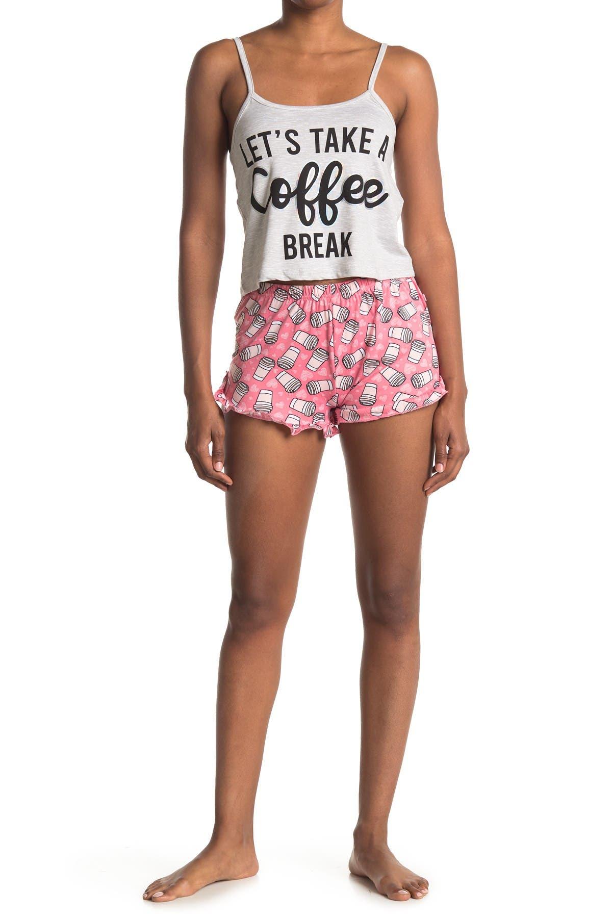 Image of FRENCH AFFAIR Coffee Break Tank & Shorts 2-Piece Pajama Set