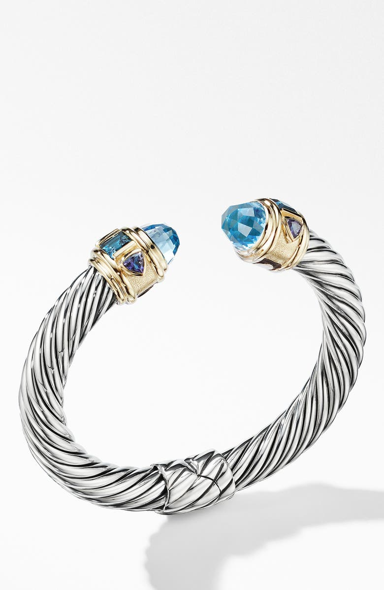 DAVID YURMAN Renaissance Cuff Bracelet with 14K Yellow Gold, Main, color, SKY BLUE TOPAZ