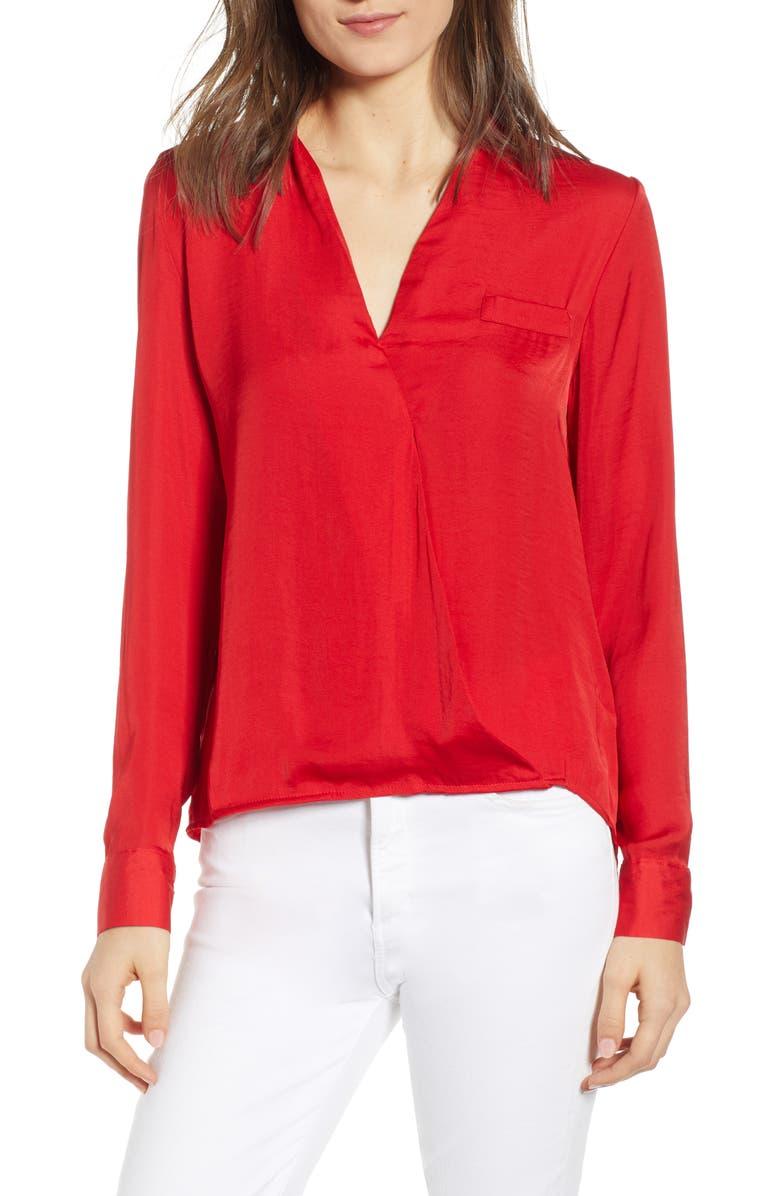 NOISY MAY Vera Valerie Satin Shirt, Main, color, RED
