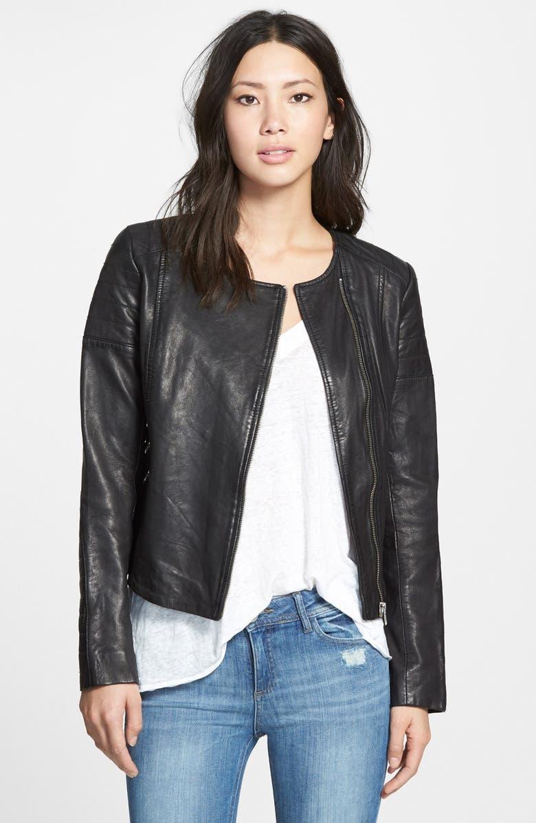 SOIA & KYO 'Trudy' Collarless Lambskin Leather Biker Jacket, Main, color, Black
