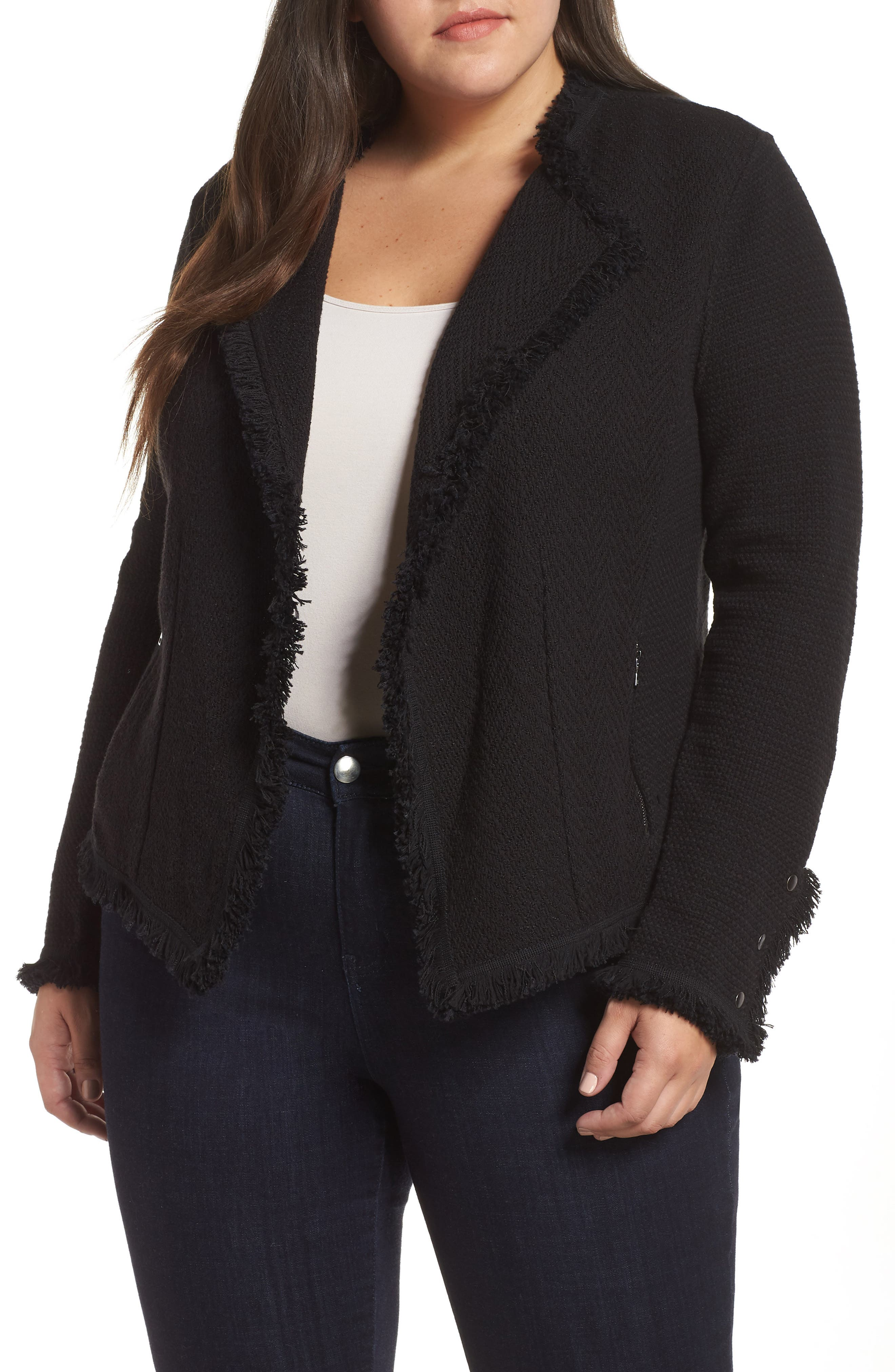 Extended cuffs give a dash of military polish to a fitted cotton-blend jacket with a rich mix of tweedy textures outlined with plush fringe. Style Name: Nic+Zoe Fringe Mix Jacket (Plus Size). Style Number: 5698454. Available in stores.
