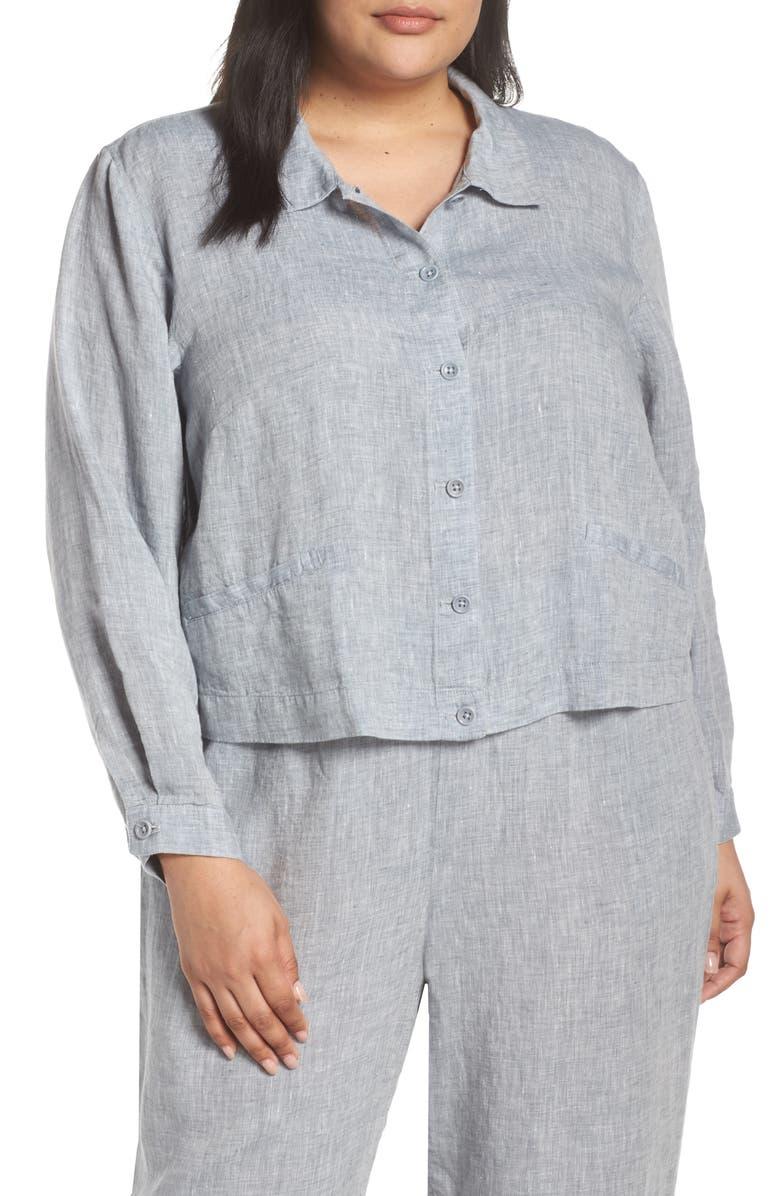EILEEN FISHER Crop Organic Linen Jacket, Main, color, 416